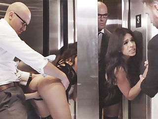 Sneaky GF cheating close by her big-dicked boss in an elevator