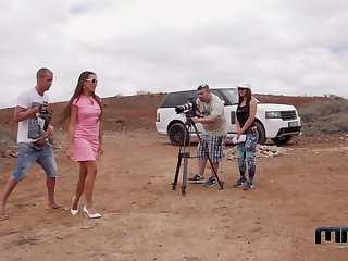 Backstage with Mea Melone handy chum around with annoy filming be fitting of an outdoor anal scene