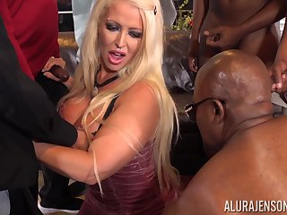 Busty Alura Jenson gang banged by parathetic big raven cocks