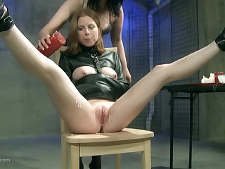 Bit of skirt uses her vibrator on her slave after hot dilate action