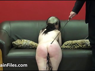 Brutal blowjob and birching of oral sex slave F