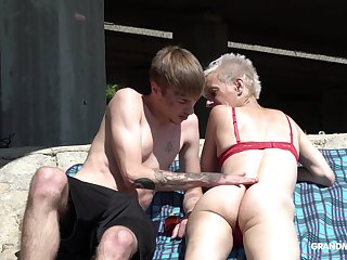 Skinny grown-up short haired granny pussy subdued outdoors