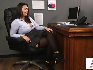 Office honey teaches slave shafting comrade to masturbate