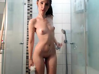 Hot Brunette Webcam Latitudinarian In Burnish apply Shower Part 1