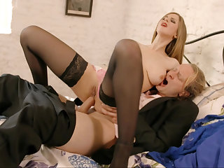 Busty blonde rides cock connected with a hot anal videotape