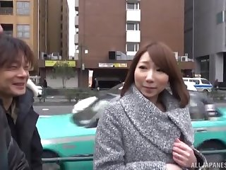 Japanese pet with natural tits gets two cocks in her mouth and pussy