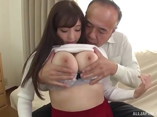 Japanese neonate Tsubakiori Satomi gets her big tits all covered in cum