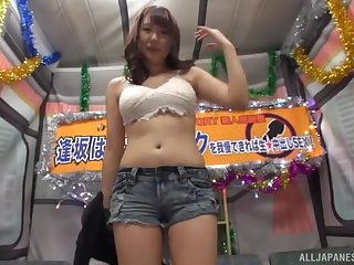 Redhead Japanese MILF Aisaka Haruna swallows a cumshot near a bus