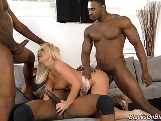 Amber Deen Blondie Nailed In All Holes Hard by Three Black Dicks - ANALDIN