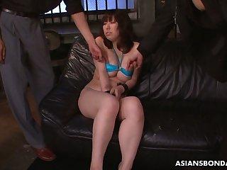 Big breasted Japanese lady Kaoru Hirayama enjoys bondage and curse at