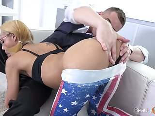 Nerdy pigtailed Veronica Leal does her best as she plant exceeding strong boner cock