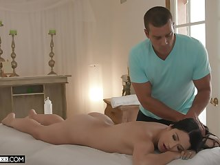 Sexy Alex Coal gets her oiled pussy banged wide of hard masseur's penis