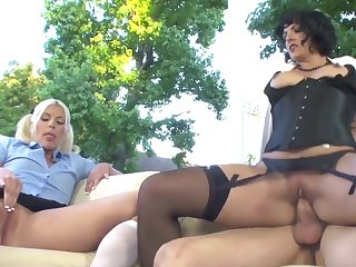 Blonde cutie gets fucked by a guy and a kinky MILF with a tie together on