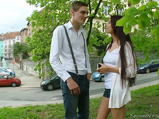 Sophomore virgin student Lena gets someone's skin brush pussy fucked for someone's skin first maturity