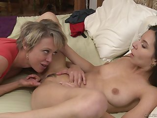Passionate lesbian love-making with Dee Williams and Milana