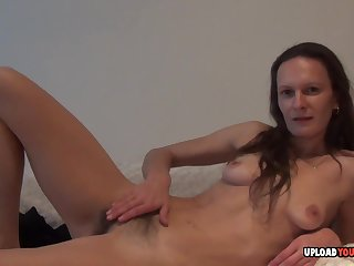 MILF shows her hairy pussy in a closeup