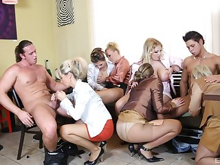 Female orgy with a buckle of strippers with huge dicks