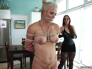 Large-Breasted lezdom whips tied babe yon kitchen