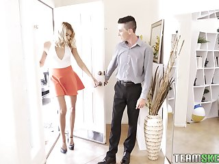 Amercement and tall blonde Chanel Grey is fucked hard by yoke horny guys