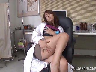 Horny doctor Misa Yuki takes off her knickers to pleasure her cravings