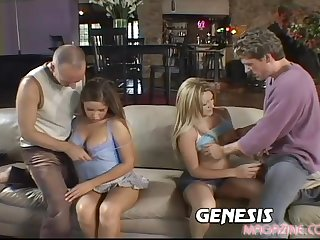 Horny babes collaborate to have foursome with a handful of handsome dudes