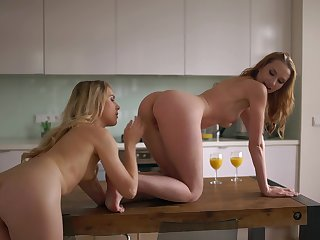 Muff divers Alecia Fox increased by Chelsy Sun love doing it in the kitchen