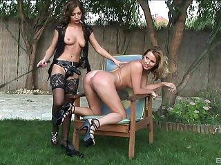 Backyard voluptuous fantasy for two MILFs encircling femdom kinks